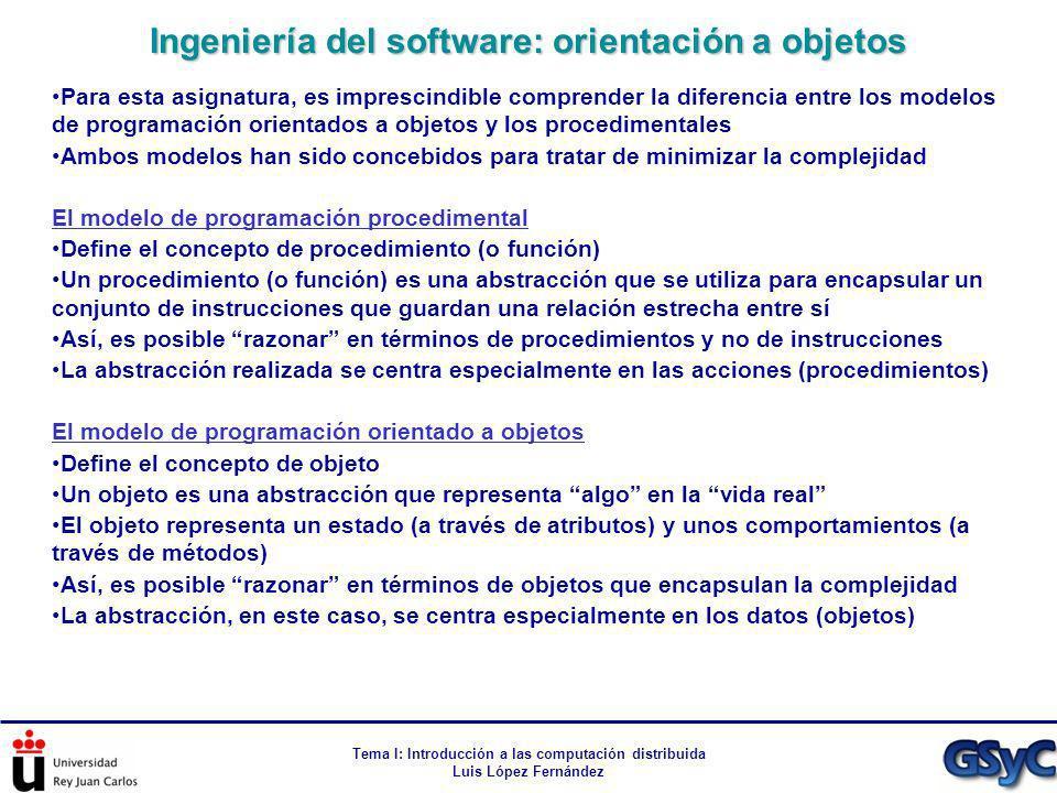 Tema I: Introducción a las computación distribuida Luis López Fernández Para esta asignatura, es imprescindible comprender la diferencia entre los mod