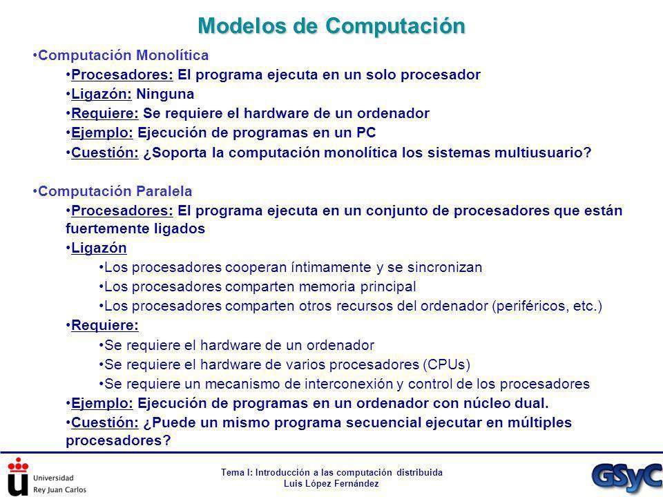 Tema I: Introducción a las computación distribuida Luis López Fernández Computación Monolítica Procesadores: El programa ejecuta en un solo procesador