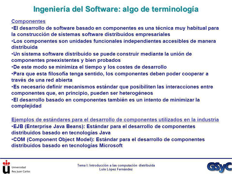 Tema I: Introducción a las computación distribuida Luis López Fernández Componentes El desarrollo de software basado en componentes es una técnica muy
