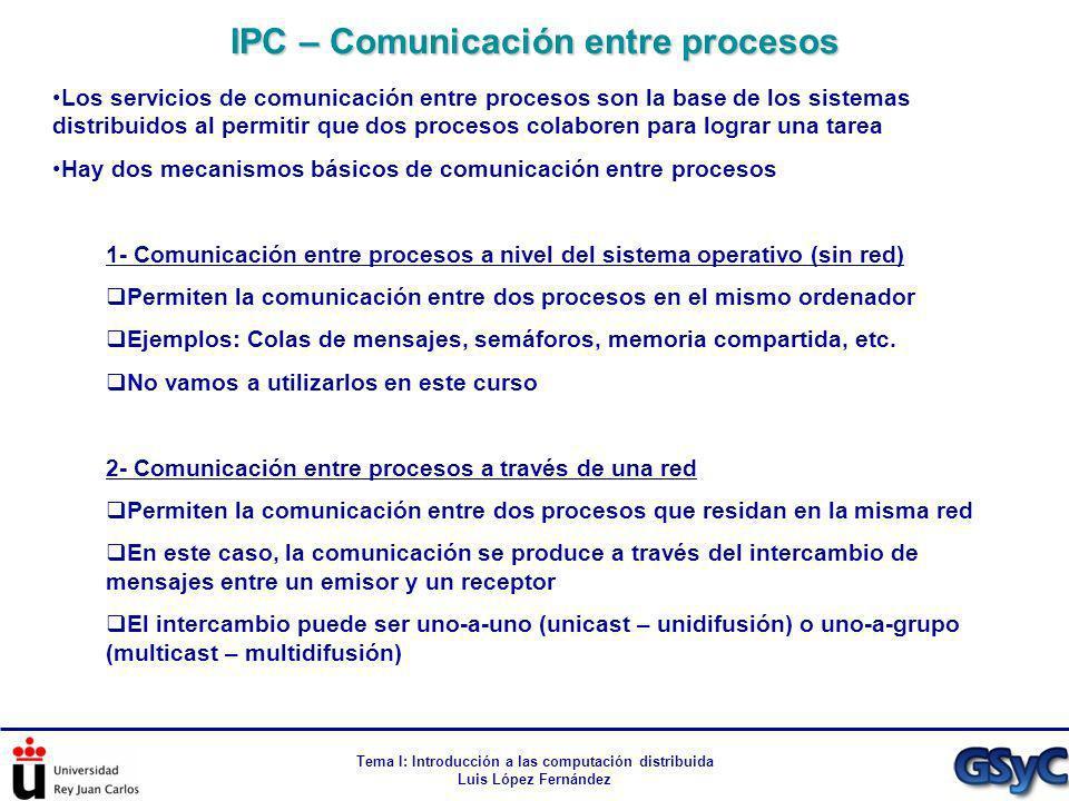 Tema I: Introducción a las computación distribuida Luis López Fernández Los servicios de comunicación entre procesos son la base de los sistemas distr