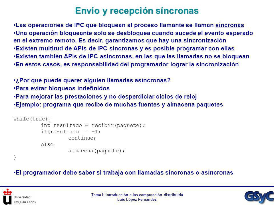 Tema I: Introducción a las computación distribuida Luis López Fernández Las operaciones de IPC que bloquean al proceso llamante se llaman síncronas Un