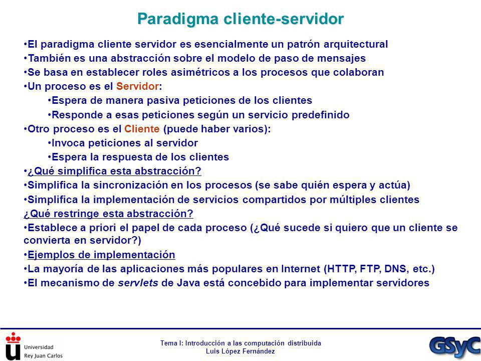 Tema I: Introducción a las computación distribuida Luis López Fernández El paradigma cliente servidor es esencialmente un patrón arquitectural También
