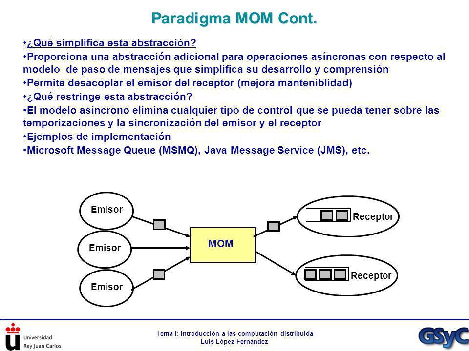 Tema I: Introducción a las computación distribuida Luis López Fernández ¿Qué simplifica esta abstracción? Proporciona una abstracción adicional para o