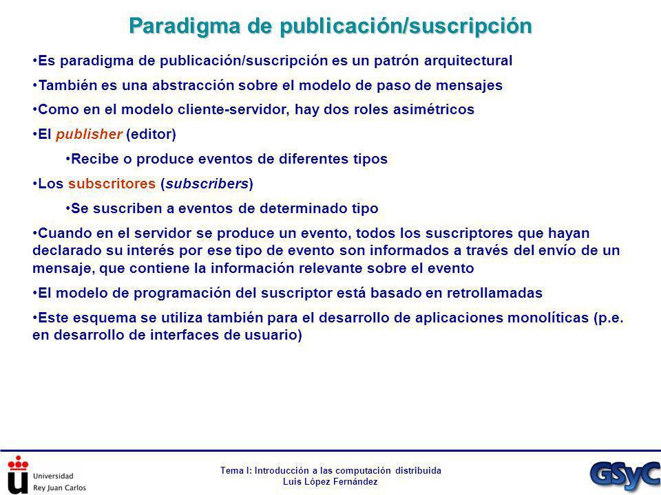 Tema I: Introducción a las computación distribuida Luis López Fernández Es paradigma de publicación/suscripción es un patrón arquitectural También es