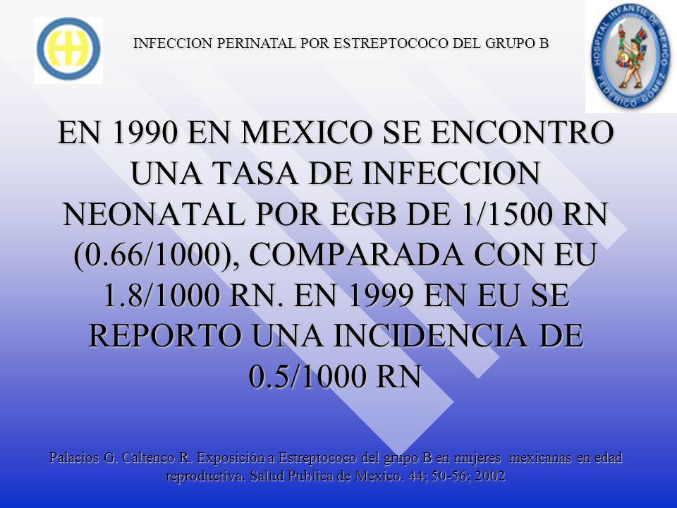 INFECCION PERINATAL POR ESTREPTOCOCO DEL GRUPO B EN MEXICO EL 10.3% DE LAS MUJERES EMBARZADAS APROXIMADAMENTE ESTAN COLONIZADAS, SEGÚN EL ULTIMO ESTUDIO EN 1990 Palacios G.