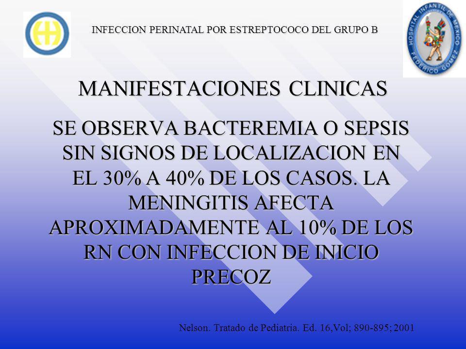 INFECCION PERINATAL POR ESTREPTOCOCO DEL GRUPO B MANIFESTACIONES CLINICAS LOS SINTOMAS RESPIRATORIOS SON DESTACADOS: CIANOSIS CIANOSIS APNEA APNEA TAQUICARDIA TAQUICARDIA RADIOGRAFIA CON PATRON RETICULO-GRANULAR (50%) RADIOGRAFIA CON PATRON RETICULO-GRANULAR (50%) INFILTRADOS NEUMONICOS IRREGULARES (30%) INFILTRADOS NEUMONICOS IRREGULARES (30%) DERRAMES PLEURALES, EDEMA PULMONAR, CARDIOMEGALIA, AUMENTO DE TRAMA VASCULAR DERRAMES PLEURALES, EDEMA PULMONAR, CARDIOMEGALIA, AUMENTO DE TRAMA VASCULAR Nelson.