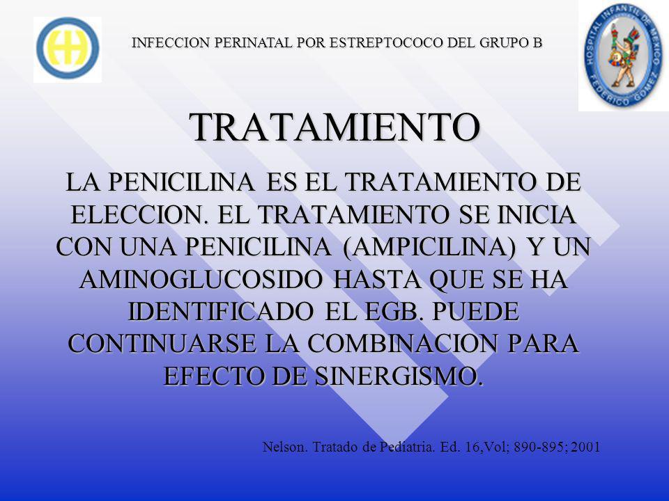 INFECCION PERINATAL POR ESTREPTOCOCO DEL GRUPO B DIAGNOSTICO EL DIAGNOSTICO SE CONFIRMA MEDIANTE EL AISLAMIENTO DE LA BACTERIA EN SITIOS NORMALMENTE ESTERILES.