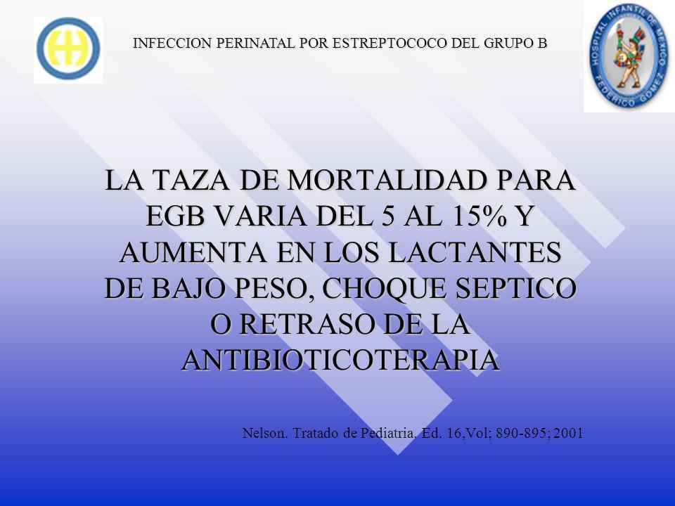 INFECCION PERINATAL POR ESTREPTOCOCO DEL GRUPO B TRATAMIENTO EL EGB TAMBIEN ES SENSIBLE A VANCOMICINA, CEFOTAXIMA, CEFTRIAXONA, IMIPENEM, PERO LOS RESULTADOS DE ESTOS FARMACOS NO SON SUPERIORES A LOS DE LA PENICILINA O AMPICILINA