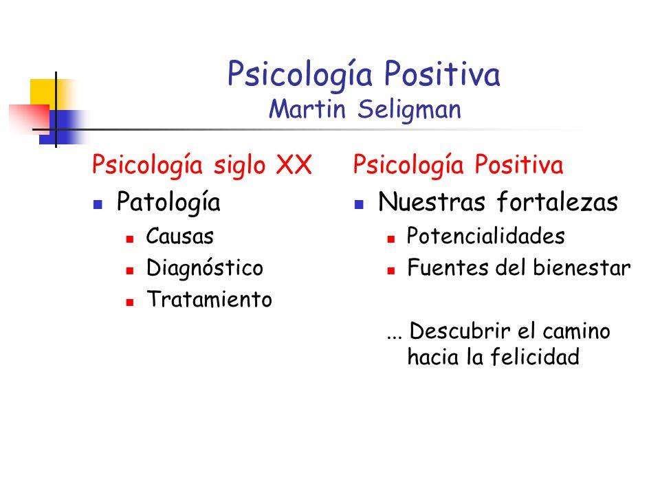 Psicología Positiva Martin Seligman Psicología siglo XX Patología Causas Diagnóstico Tratamiento Psicología Positiva Nuestras fortalezas Potencialidades Fuentes del bienestar...
