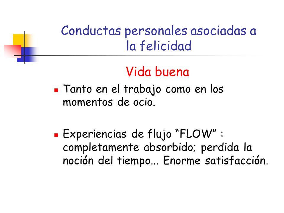 Conductas personales asociadas a la felicidad Vida buena Tanto en el trabajo como en los momentos de ocio.