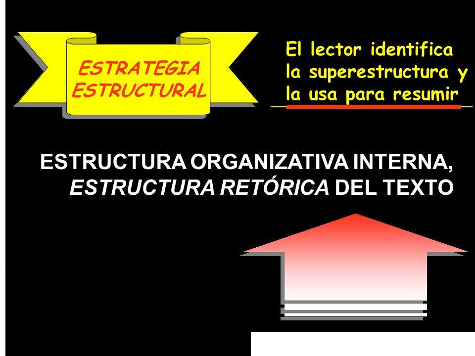 SUPERESTRUCTURA MICRO ESTRUCTURA MACRO ESTRUCTURA ESTRUCTURA ORGANIZATIVA INTERNA, ESTRUCTURA RETÓRICA DEL TEXTO ESTRATEGIA ESTRUCTURAL ESTRATEGIA EST