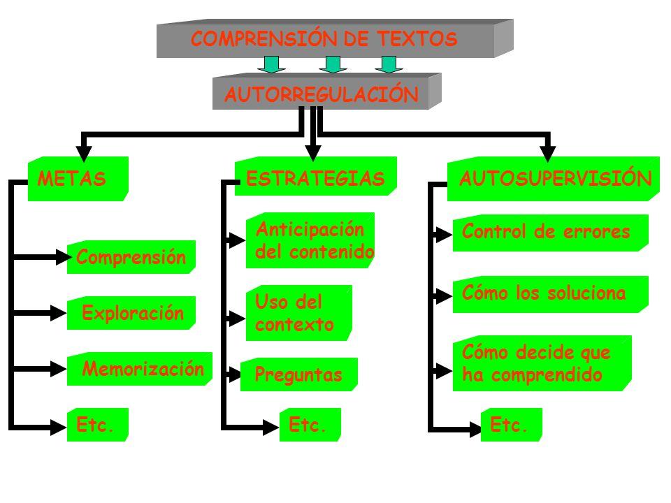 COMPRENSIÓN DE TEXTOS AUTORREGULACIÓN Comprensión Exploración Etc. METASESTRATEGIASAUTOSUPERVISIÓN Memorización Anticipación del contenido Etc. Uso de