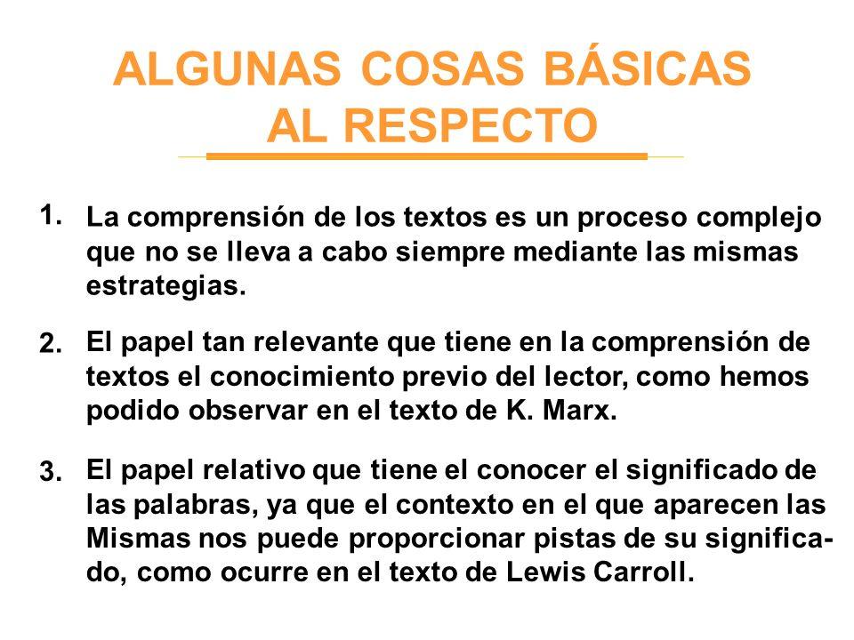 ALGUNAS COSAS BÁSICAS AL RESPECTO 1. 2. 3. La comprensión de los textos es un proceso complejo que no se lleva a cabo siempre mediante las mismas estr