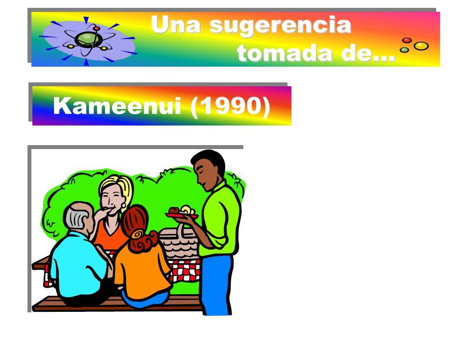 Una sugerencia tomada de... Kameenui (1990) Kameenui (1990) Comenzar trabajando sobre escenas: Describir con oracio- nes lo que se ve Poner un título