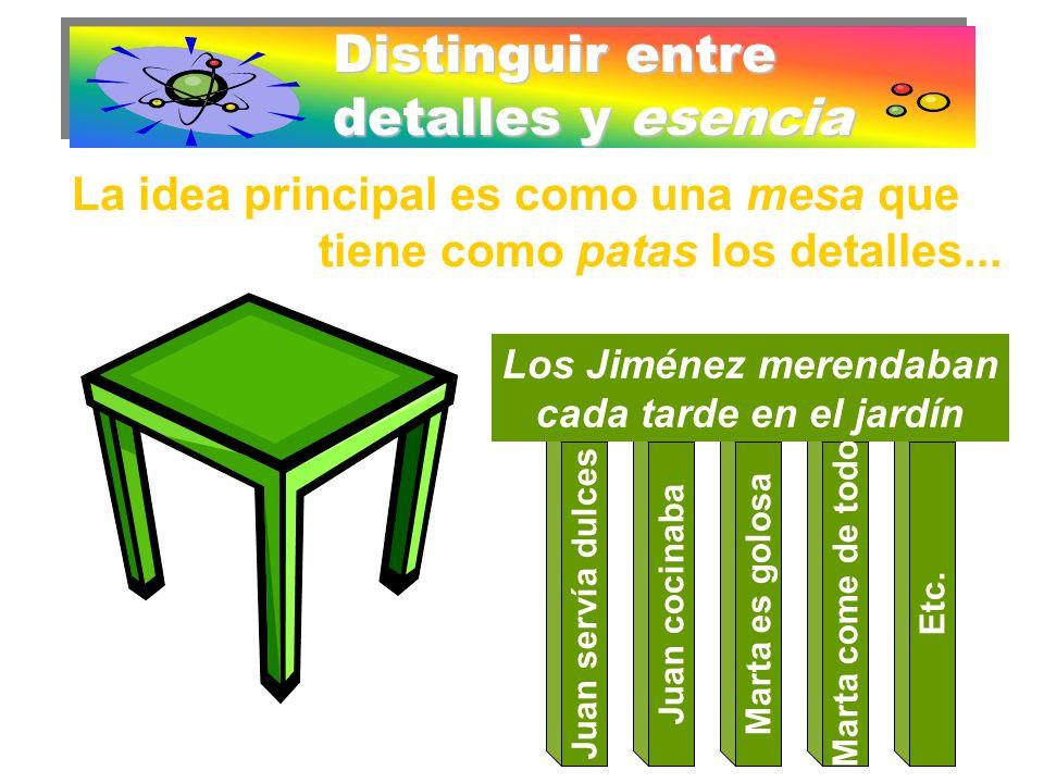 Distinguir entre detalles y esencia La idea principal es como una mesa que tiene como patas los detalles... Juan servía dulcesJuan cocinabaMarta es go