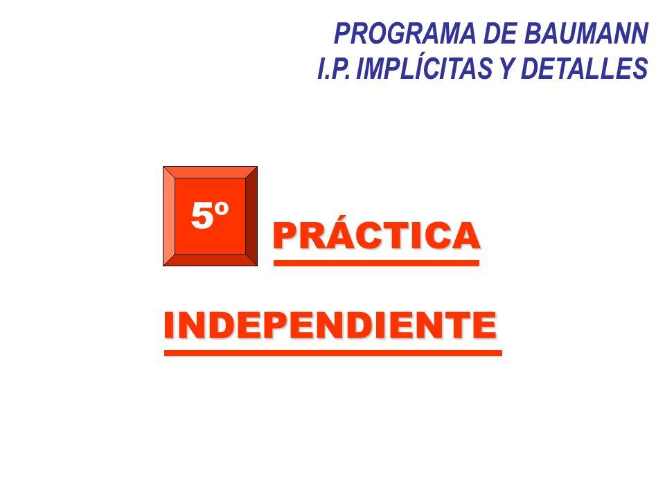PROGRAMA DE BAUMANN I.P. IMPLÍCITAS Y DETALLES 5º PRÁCTICA INDEPENDIENTE