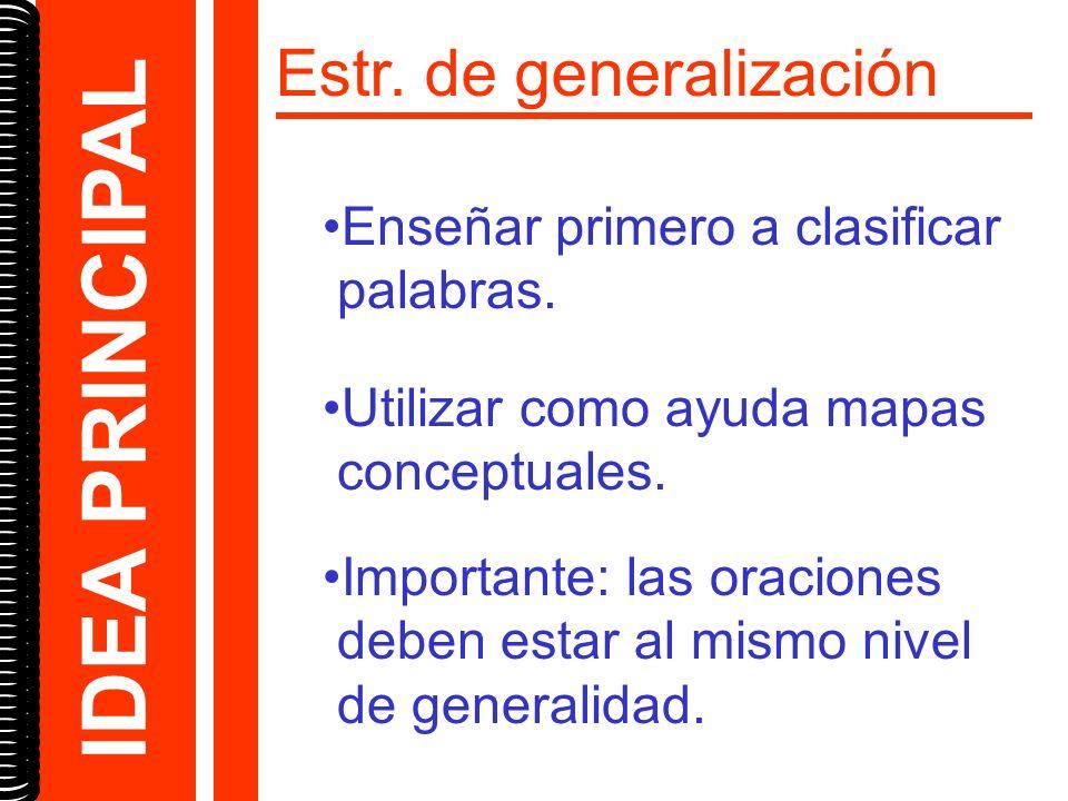 Estr. de generalización Enseñar primero a clasificar palabras. Utilizar como ayuda mapas conceptuales. Importante: las oraciones deben estar al mismo