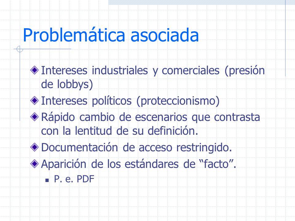Problemática asociada Intereses industriales y comerciales (presión de lobbys) Intereses políticos (proteccionismo) Rápido cambio de escenarios que co