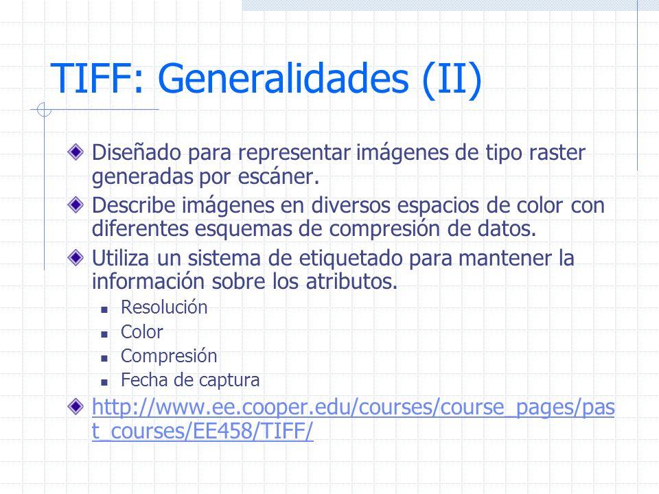TIFF: Generalidades (II) Diseñado para representar imágenes de tipo raster generadas por escáner. Describe imágenes en diversos espacios de color con