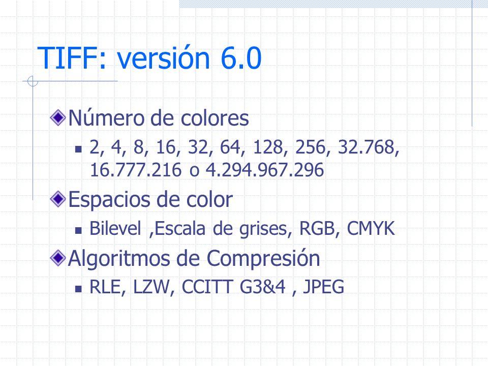 TIFF: versión 6.0 Número de colores 2, 4, 8, 16, 32, 64, 128, 256, 32.768, 16.777.216 o 4.294.967.296 Espacios de color Bilevel,Escala de grises, RGB,