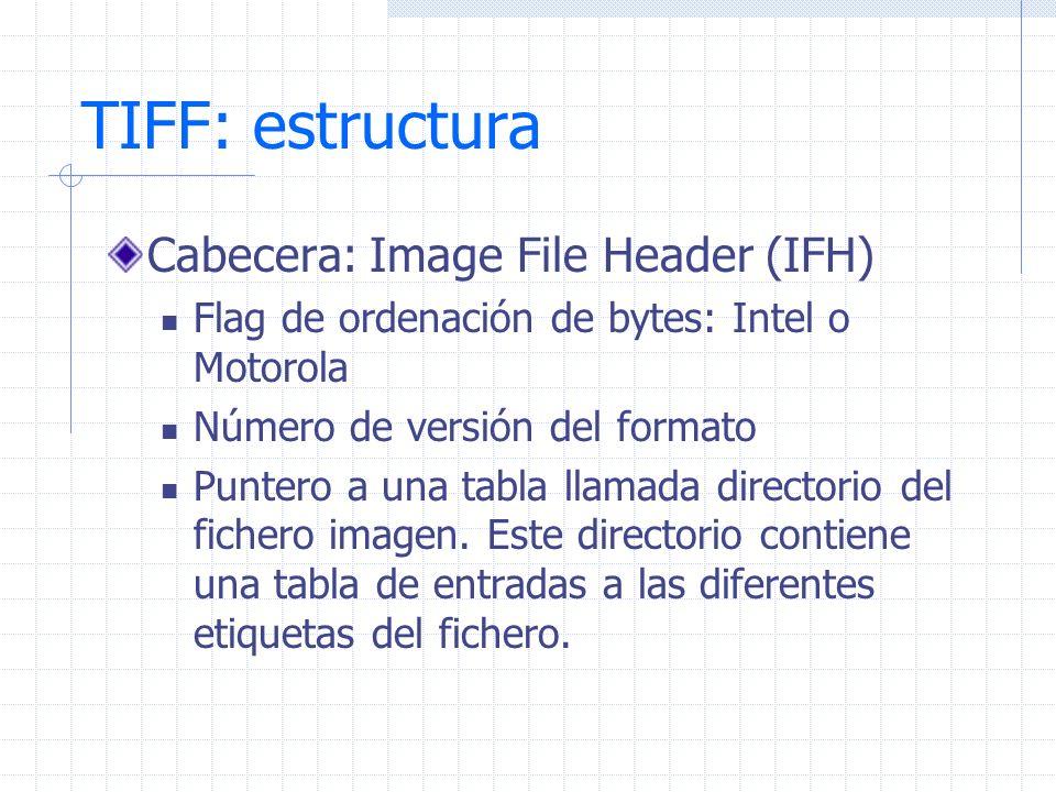 TIFF: estructura Cabecera: Image File Header (IFH) Flag de ordenación de bytes: Intel o Motorola Número de versión del formato Puntero a una tabla lla