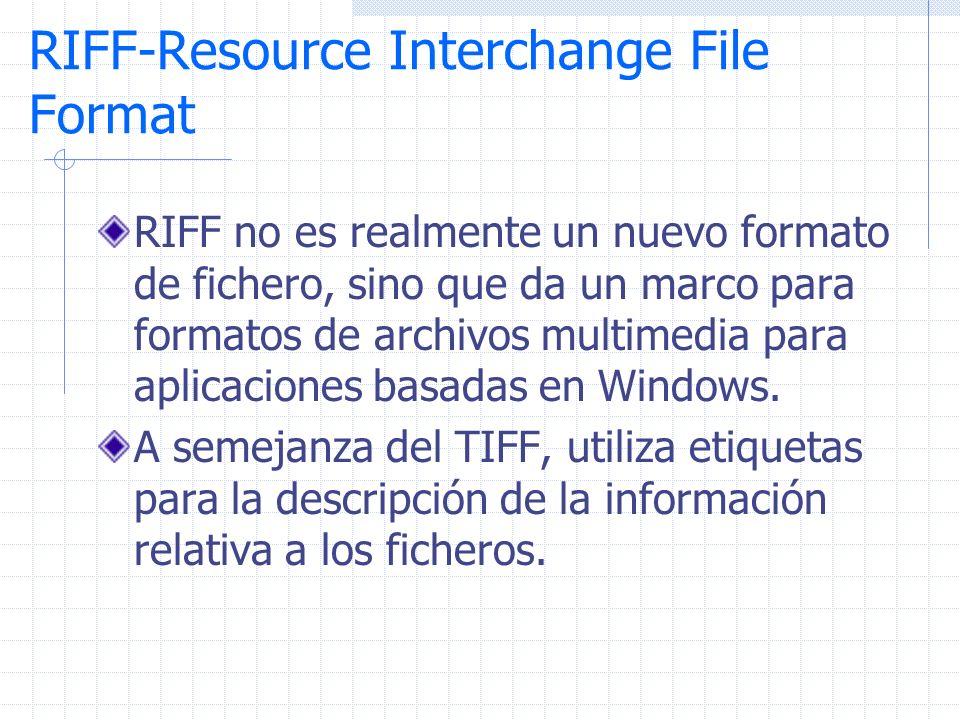 RIFF-Resource Interchange File Format RIFF no es realmente un nuevo formato de fichero, sino que da un marco para formatos de archivos multimedia para