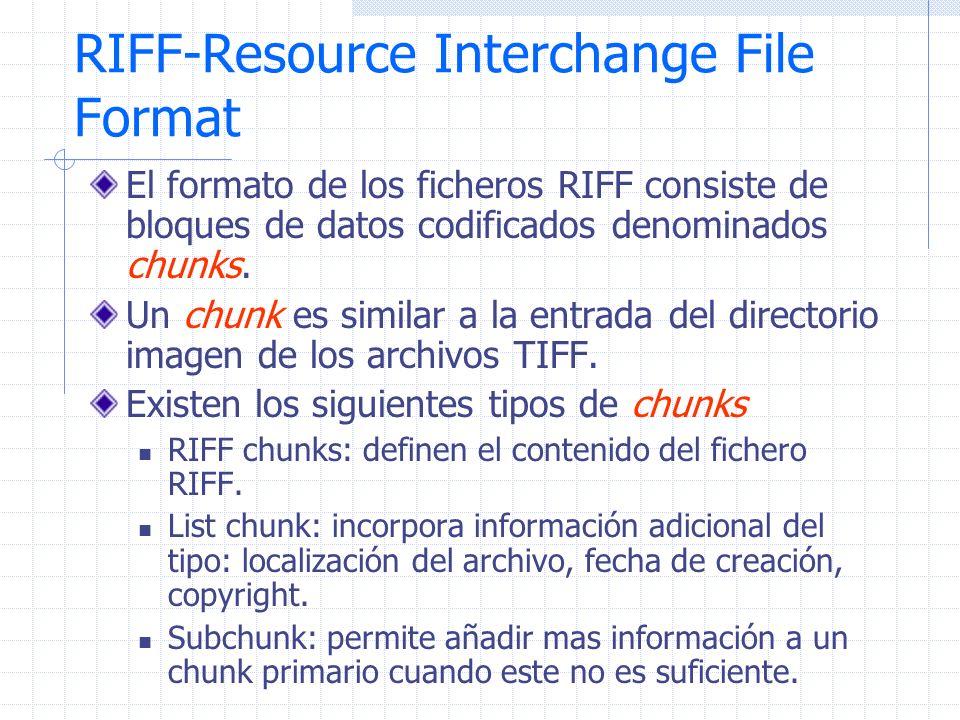 RIFF-Resource Interchange File Format El formato de los ficheros RIFF consiste de bloques de datos codificados denominados chunks. Un chunk es similar
