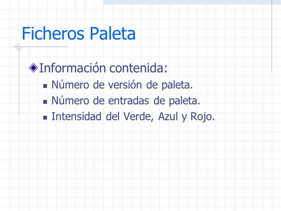Ficheros Paleta Información contenida: Número de versión de paleta. Número de entradas de paleta. Intensidad del Verde, Azul y Rojo.