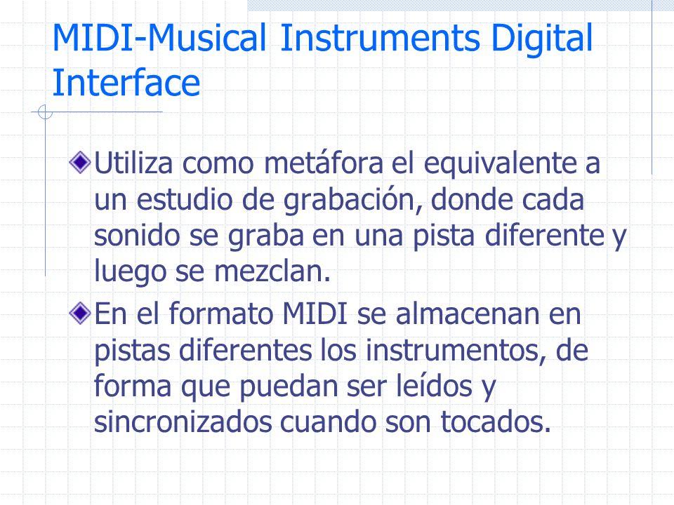 MIDI-Musical Instruments Digital Interface Utiliza como metáfora el equivalente a un estudio de grabación, donde cada sonido se graba en una pista dif
