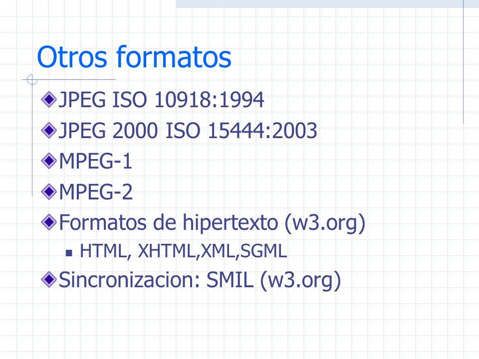Otros formatos JPEG ISO 10918:1994 JPEG 2000 ISO 15444:2003 MPEG-1 MPEG-2 Formatos de hipertexto (w3.org) HTML, XHTML,XML,SGML Sincronizacion: SMIL (w