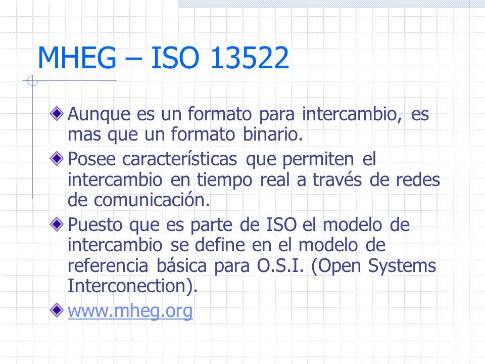 MHEG – ISO 13522 Aunque es un formato para intercambio, es mas que un formato binario. Posee características que permiten el intercambio en tiempo rea