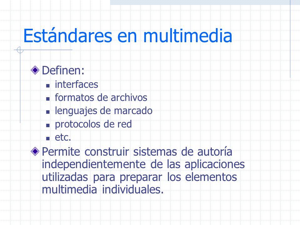 Otros formatos JPEG ISO 10918:1994 JPEG 2000 ISO 15444:2003 MPEG-1 MPEG-2 Formatos de hipertexto (w3.org) HTML, XHTML,XML,SGML Sincronizacion: SMIL (w3.org)