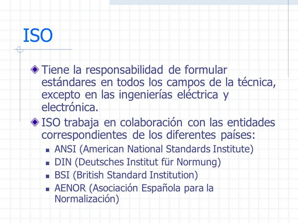 ISO Tiene la responsabilidad de formular estándares en todos los campos de la técnica, excepto en las ingenierías eléctrica y electrónica. ISO trabaja