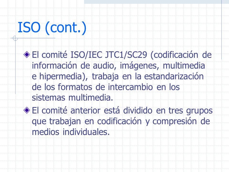 ISO (cont.) El comité ISO/IEC JTC1/SC29 (codificación de información de audio, imágenes, multimedia e hipermedia), trabaja en la estandarización de lo