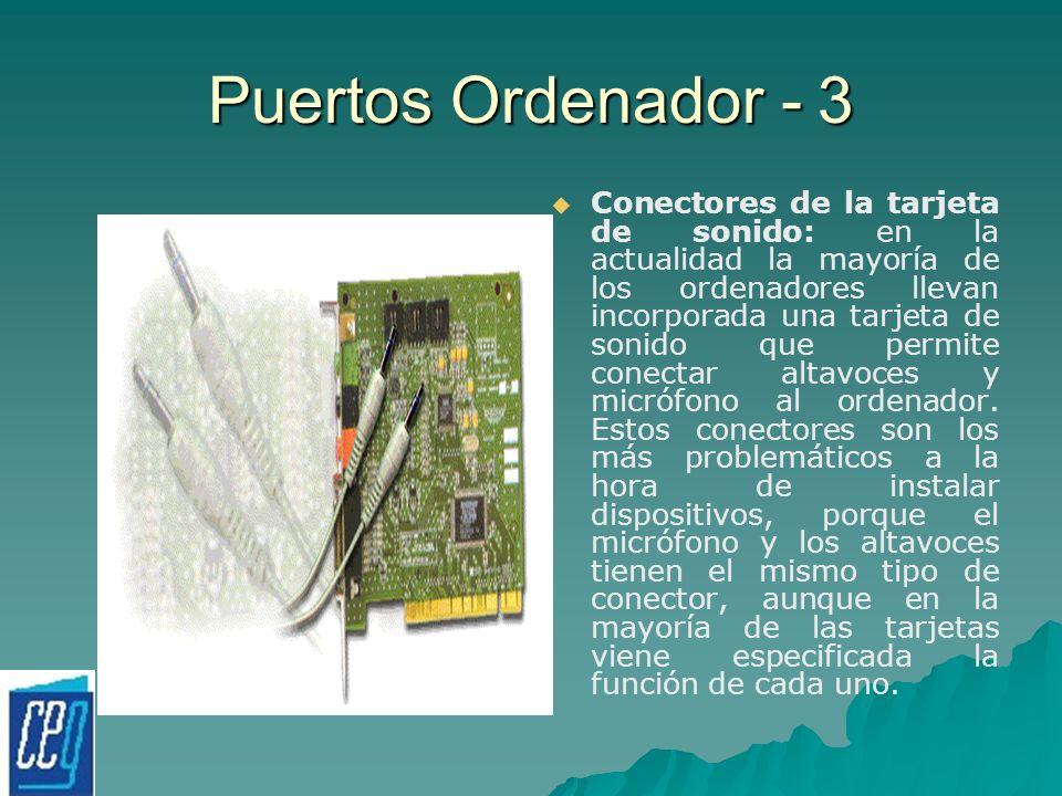 Puertos Ordenador - 3 Conectores de la tarjeta de sonido: en la actualidad la mayoría de los ordenadores llevan incorporada una tarjeta de sonido que