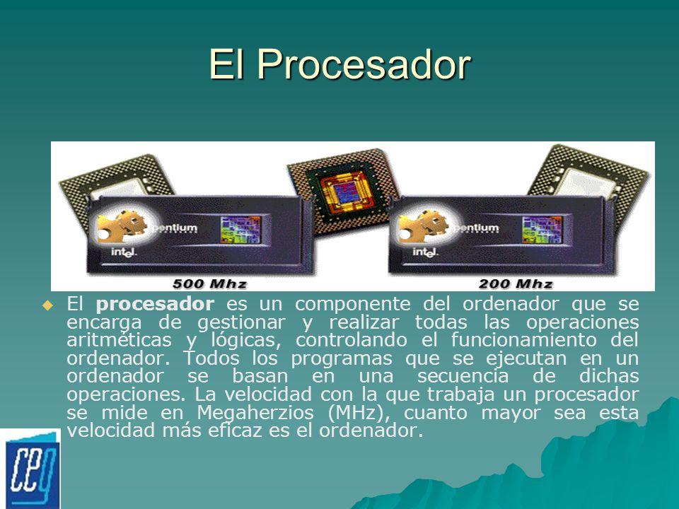El Procesador El procesador es un componente del ordenador que se encarga de gestionar y realizar todas las operaciones aritméticas y lógicas, control