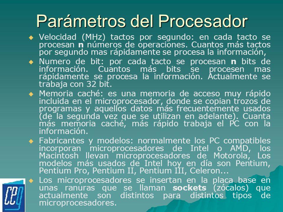 Parámetros del Procesador Velocidad (MHz) tactos por segundo: en cada tacto se procesan n números de operaciones. Cuantos más tactos por segundo mas r