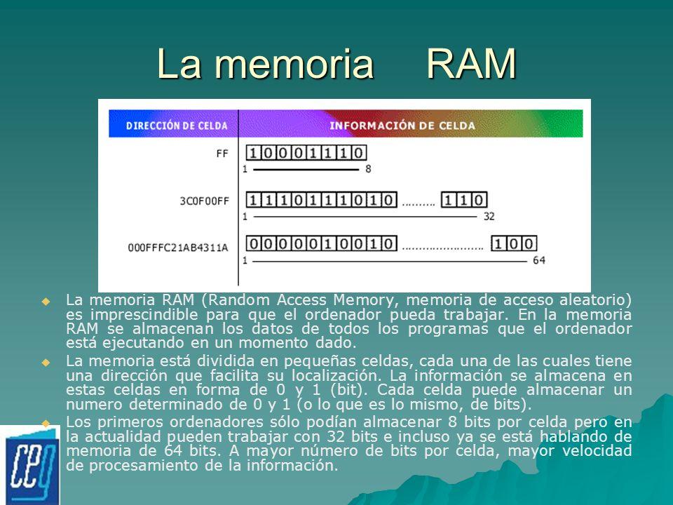 La memoriaRAM La memoria RAM (Random Access Memory, memoria de acceso aleatorio) es imprescindible para que el ordenador pueda trabajar. En la memoria