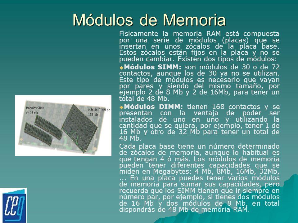 Módulos de Memoria Físicamente la memoria RAM está compuesta por una serie de módulos (placas) que se insertan en unos zócalos de la placa base. Estos