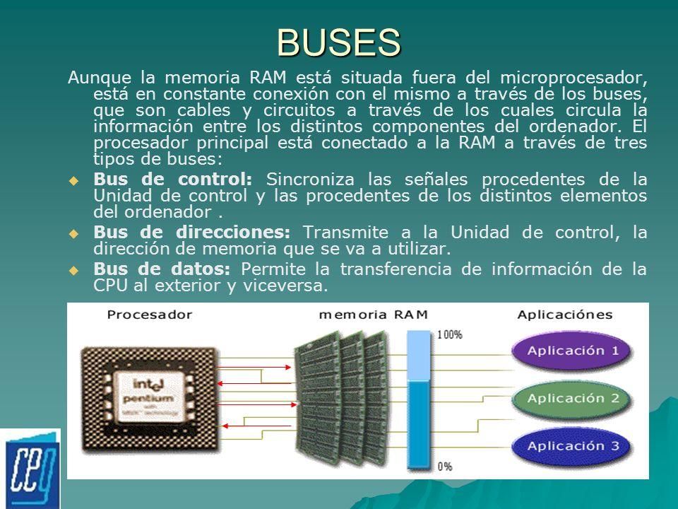 BUSES Aunque la memoria RAM está situada fuera del microprocesador, está en constante conexión con el mismo a través de los buses, que son cables y ci