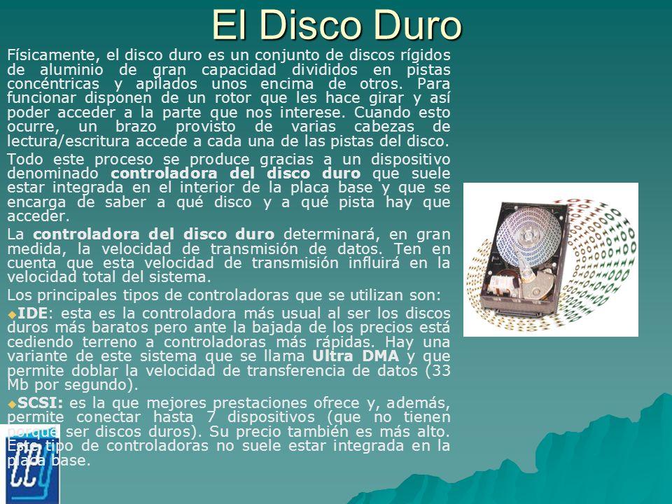 El Disco Duro Físicamente, el disco duro es un conjunto de discos rígidos de aluminio de gran capacidad divididos en pistas concéntricas y apilados un