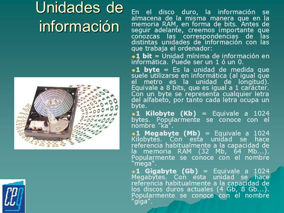 Unidades de información En el disco duro, la información se almacena de la misma manera que en la memoria RAM, en forma de bits. Antes de seguir adela