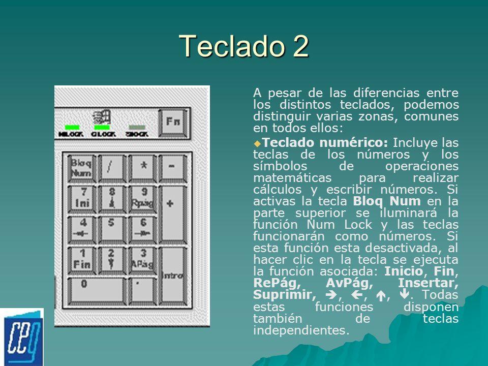 Teclado 2 A pesar de las diferencias entre los distintos teclados, podemos distinguir varias zonas, comunes en todos ellos: Teclado numérico: Incluye