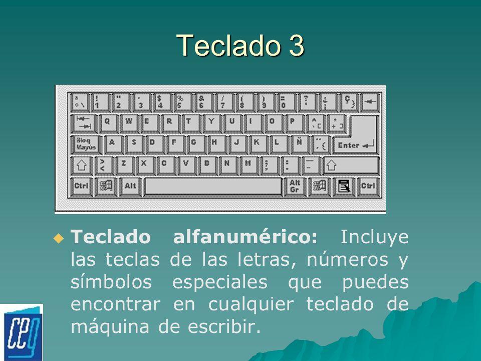 Teclado 3 Teclado alfanumérico: Incluye las teclas de las letras, números y símbolos especiales que puedes encontrar en cualquier teclado de máquina d