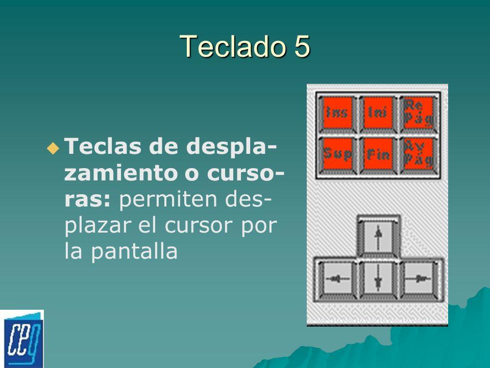 Teclado 5 Teclas de despla- zamiento o curso- ras: permiten des- plazar el cursor por la pantalla