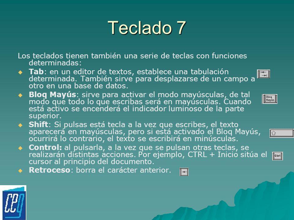 Teclado 7 Los teclados tienen también una serie de teclas con funciones determinadas: Tab: en un editor de textos, establece una tabulación determinad