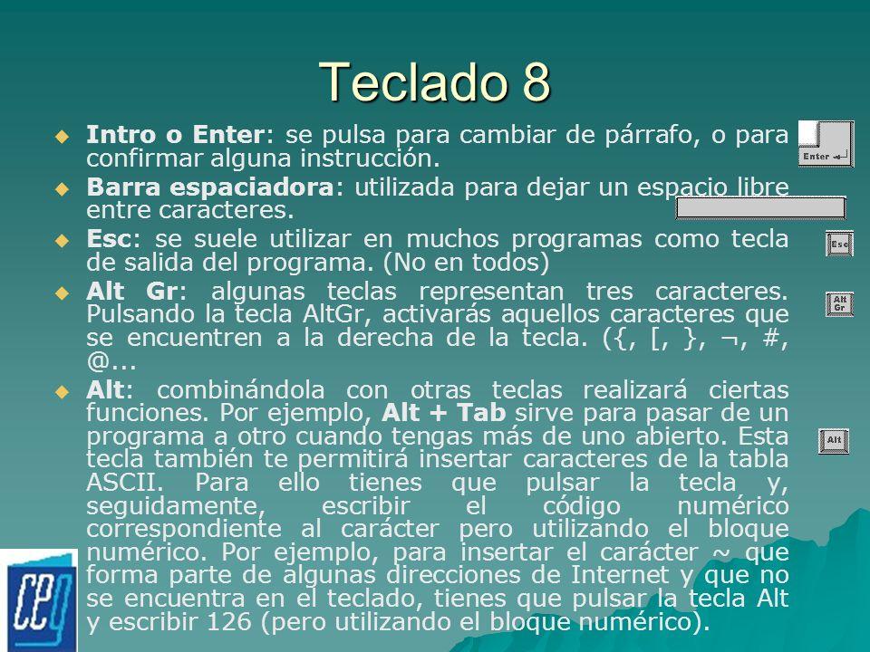 Teclado 8 Intro o Enter: se pulsa para cambiar de párrafo, o para confirmar alguna instrucción. Barra espaciadora: utilizada para dejar un espacio lib