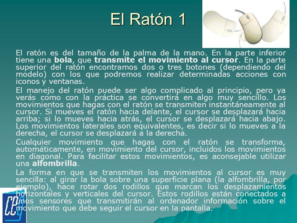 El Ratón 1 El ratón es del tamaño de la palma de la mano. En la parte inferior tiene una bola, que transmite el movimiento al cursor. En la parte supe