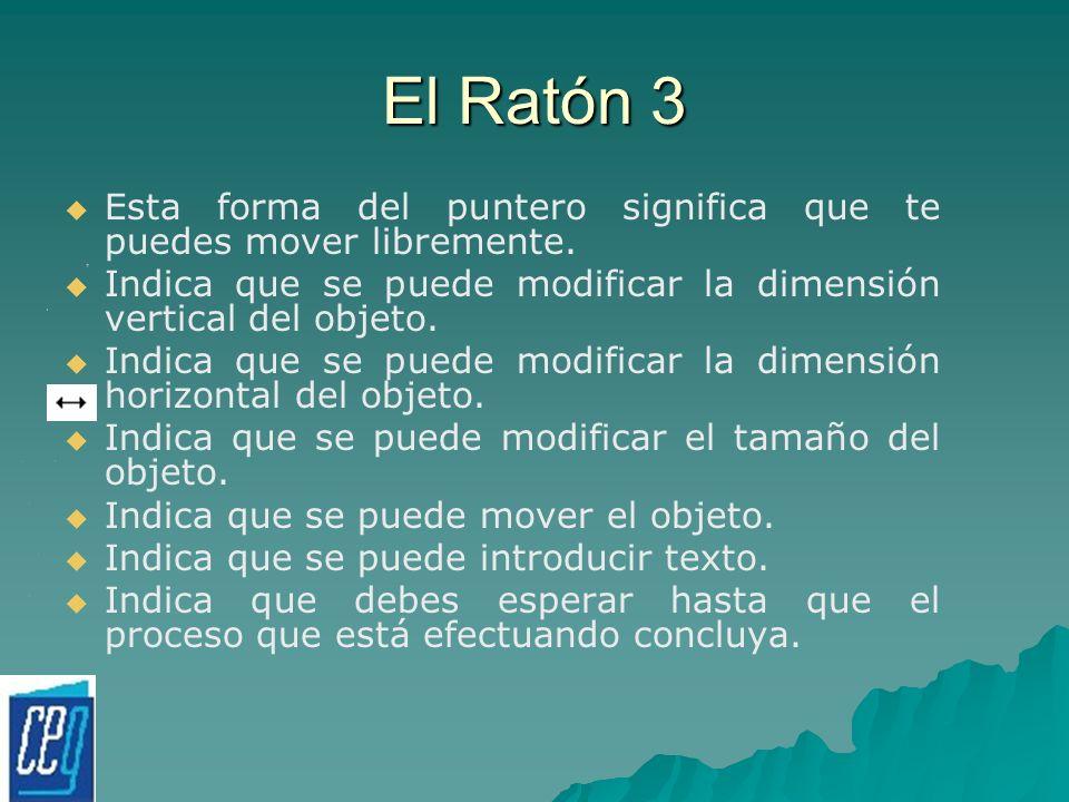 El Ratón 3 Esta forma del puntero significa que te puedes mover libremente. Indica que se puede modificar la dimensión vertical del objeto. Indica que