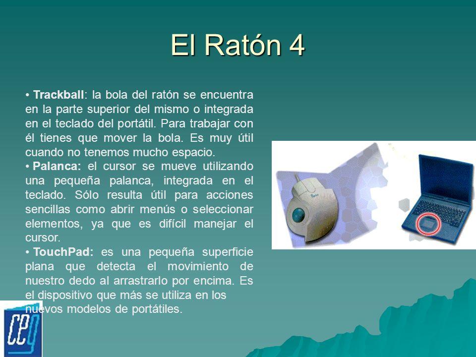 El Ratón 4 Trackball: la bola del ratón se encuentra en la parte superior del mismo o integrada en el teclado del portátil. Para trabajar con él tiene